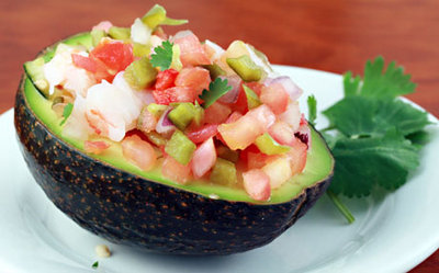 Avocado Stuffed w Salsa & Shrimp